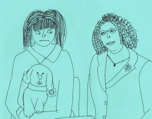 Sketch drawing of two people and a dog on lap